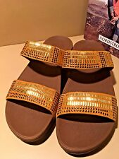 FitFlop  'Aztek Chada' Studded Slide Sandals Yellow & Gold Women Sz 9