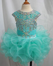 Infant toddle Kids MiNi party Pageant Dress Cupcake Ball Gowns Custom All Size
