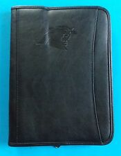 NEW CAROLINA PANTHERS LEEDS LEATHER ZIP-UP PADFOLIO ORGANIZER W/LETTER PAD BLACK