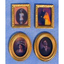 2 Oval & 2 Rectangular Photo Frames 12th Scale for Dolls House