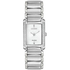 BRAND NEW CITIZEN EG2960-57A EUPHORIA ECO DRIVE SILVER STEEL GLITZ WOMEN'S WATCH