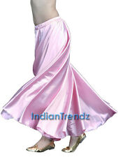 360 Full Circle Satin Long Skirt Swing Belly Dance Costumes Tribal Flamenco Jupe