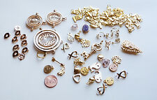 75+ MIX LOT GOLD PLATE + GOLD FILLED CHARMS PENDANTS COMPASS HARRY POTTER MOM