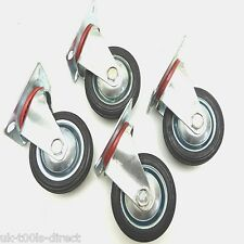 "3"" - 75mm 4pc Rubber Swivel Castor Wheels Trolley Furniture Caster 25kg each"