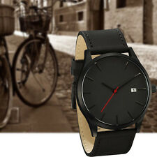 Fashion Men's Analog Sport Wrist Stainless Steel Case Quartz Leather Watch Black