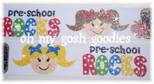 1.5 GLITTER PRE-SCHOOL ROCKS BACK TO SCHOOL GIRL GROSGRAIN RIBBON 4 HAIRBOW BOW
