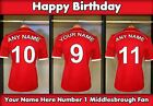 A5 personalised football Middlesbrough Dressing Room Birthday Card PID no1 Fan