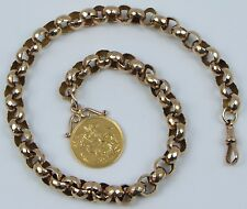 9ct & 22ct Multi-tone Gold 1892 Queen Victoria Full Sovereign Coin Bracelet