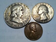 1953 d silver franklin half dollar washington quarter and wheat cent penny