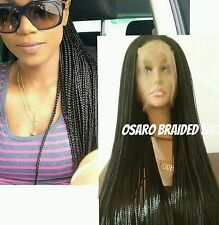 Extra long ,  neat micro braided  lace front wig. Box braids.  Human hair blend