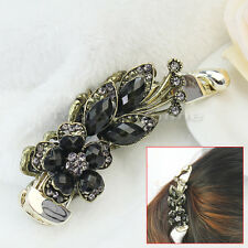 Women Flower Leaf Rhinestone Crystal Metal Banana Hair Clip Grip Barrette Clamp