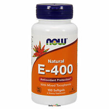 NOW Foods Vitamin E-400 IU Mixed Tocopherols 100 Softgels, 100% Natural, FRESH