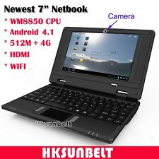 "7"" Android 4.1 Mini Netbook Notebook VIA WM8850 WiFi 512M 4GB HDMI Camera Black"