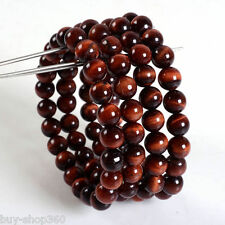wholesale 4 Pc 8mm Red tiger eye round gemstone beads stretchable bracelet 7.5""