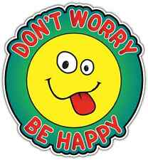 "Don't Worry Be Happy Funny Smiley Face Car Bumper Vinyl Sticker Decal 4.5""X5"""