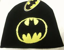 NWT Mens Black DC Comics Batman Bat Symbol Logo Dark Knight Superhero Beanie Hat
