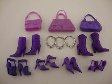 A Large All Purple Barbie Accessories Pack 12 Pieces 3 Purses 4 Pairs of Shoes 2