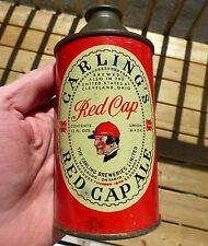Rare 1940's Canadian CARLING'S RED CAP ALE cone top beer can FREE SHIPPING!