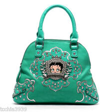 Betty Boop crown mint Rhinestones mini shoulder Bag handbag  silver studs