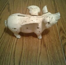 Large Cast Iron Flying Pig Bank Pig With Wings  10 Inch