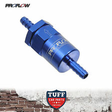 "Proflow Competition Billet Rusable Fuel Filter 30 Micron Blue 5/16"" Barb 8mm New"