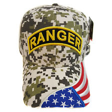 US MILITARY RANGER DIGITAL CAMOUFLAGE (US Flag on Brim) Hat Cap