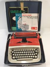 Vintage Red & White Royal Safari Typewriter With Case