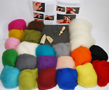 Needle felting kit 250g carded Merino 20 colours + core wool FREE oddments bag