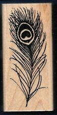PEACOCK FEATHER FLUME quill N030 large STAMPENDOUS! 1997 wood Craft RUBBER STAMP