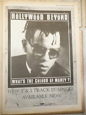 "HOLLYWOOD BEYOND - THE COLOUR OF MONEY, B&W, N.M.E. ADVERT POSTER, 11.5"" X 16.5"""
