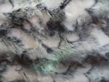 GREY AND WHITE  BRANDY FOX FAUX FUR FABRIC BY THE YARD