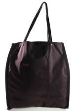 Tumi Dark Purple Stitch Trim Leather Handle Logo Front Tote Handbag