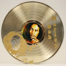 Bob Marley Limited Edition Laser Etched Image Gold LP Record Wall Art Display