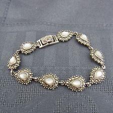 schönes altes Armband 925/-Silber mit Markasiten Perlmutt