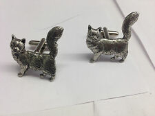 Maine Coone Cat PP-C07 Fine English Pewter Cufflinks
