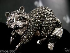 SIGNED SWAROVSKI BLACK DIAMOND PAVE' CRYSTAL RACCOON  PIN~BROOCH RETIRED NWT