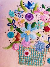 VINTAGE PILLOW EMBROIDERY PILLOW FLOWERS