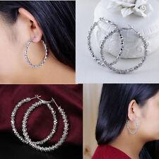 """Wholesale Women Jewelry 925 Sterling Silver Plated """"Stars"""" Hoop Dangle Earring"""