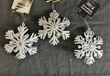 3 x Large Silver & Diamante 3D Glitter Snowflake Christmas Tree Decoration