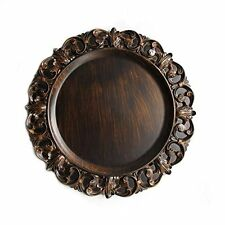 "American Atelier Gold Embossed 14"" Charger Plate Brown"