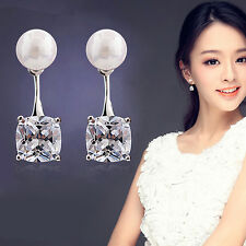 Mujer Pendientes de botón perla cristal joyas pendiente Aretes Ear Stud Earrings