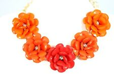 D16 Acrylic Flower Petal Graduated Coral Orange Crystal Statement Necklace Set