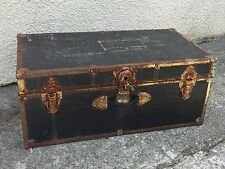 Trunk Chest Steamer Rustic Vintage Industrial Style Black