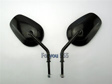 Black OVAL REARVIEW MIRRORS FOR HARLEY SOFTAIL DYNA SPORTSTER TOURING CRUISER