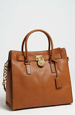 New Auth Michael Kors Hamilton Large Leather NS Tote Luggage /Gold Bag, $358