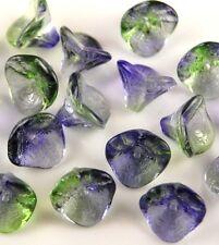 20 Czech Flower Bell Glass Beads Blue Green 3 Petal Loose Spacer 10X12mm