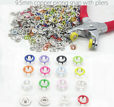 100 Sets 9.5mm Prong Snap buttons Ring Press Studs Snap Fasteners + Clip Pliers