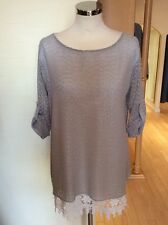Latte Top Size 12 BNWT Beige Cream Layered 3/4 Sleeves RRP £140 NOW £63
