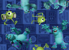 FAT QUARTER DISNEY PIXAR FILM MONSTER UNIVERSITY MIKE & SULLY 100% COTTON FABRIC