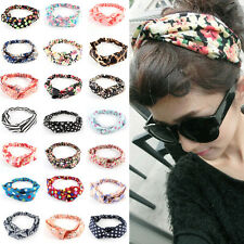 New Women Ladies Yoga Elastic Turban Floral Twisted Knotted Hair Band Headband